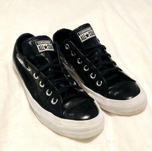 Converse All star black leather women sz 8 snkr